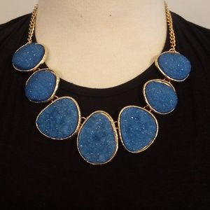 Blue and Gold Druzy Statement Necklace